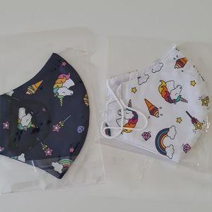 Handmade unicorn print cloth mask set.